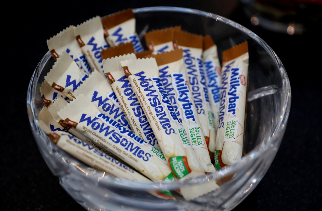 Bars of Nestle's new 'Milkybar Wowsomes' are displayed at their Product Technology Centre in York