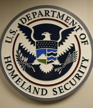 U.S. Department of Homeland Security emblem is pictured at the National Cybersecurity & Communications Integration Center in Arlington Virginia