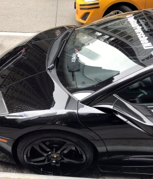 A Lamborghini is seen outside Consensus, a three-day crypto event in Midtown Manhattan