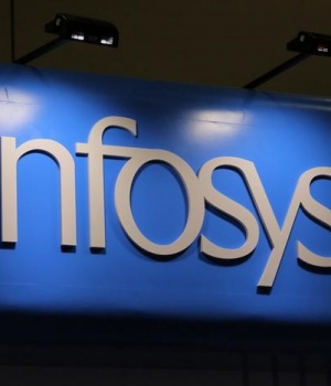 The Infosys logo is seen at the SIBOS banking and financial conference in Toronto