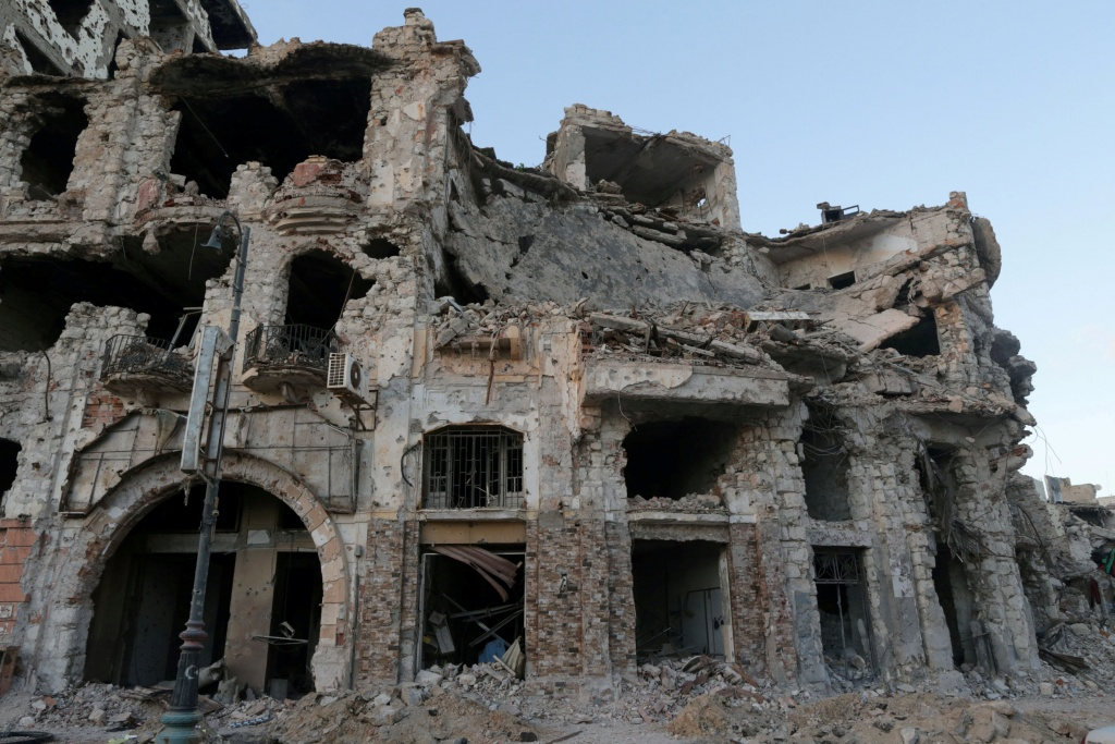 Historic building, that was destroyed during a three-year conflict, is seen in Benghazi