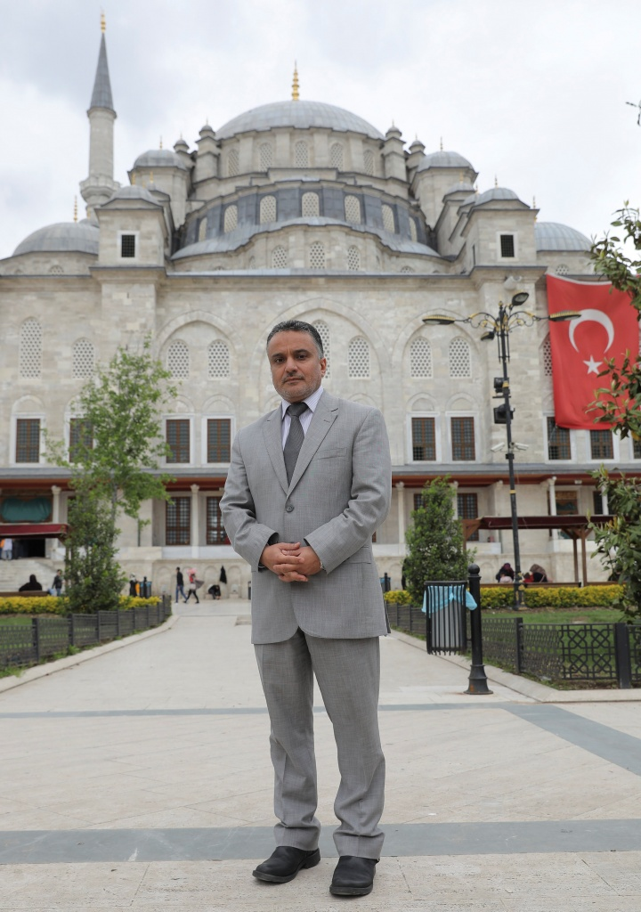 Mustafa El Sagezli, General Manager of LPRD, poses in front of the Fatih Mosque in Istanbul