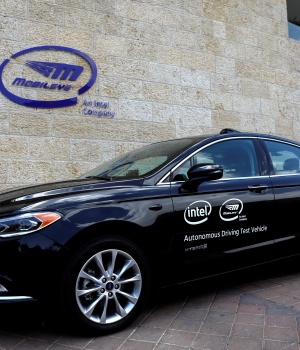 A general view of a Mobileye autonomous driving test vehicle, at the Mobileye headquarters in Jerusalem