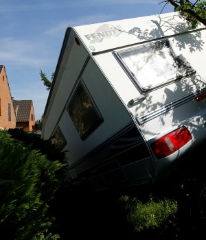 A caravan sits in a garden after a tornado last night hit the area of Boisheim