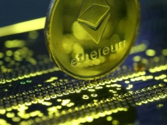Representation of the Ethereum virtual currency standing on the PC motherboard is seen in this illustration picture