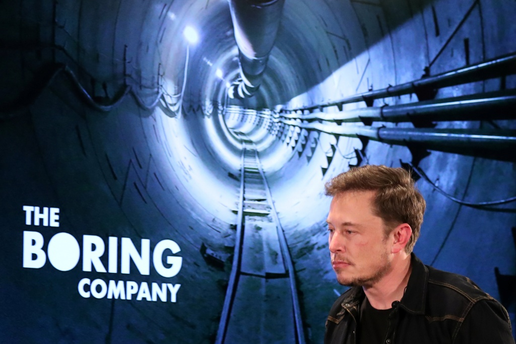 Elon Musk arrives to speak at Boring Company community meeting in Bel Air, Los Angeles