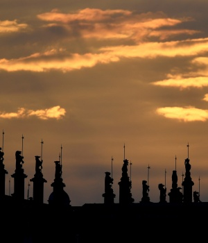 Statues are seen on the roof of St George's Chapel at Windsor Castle