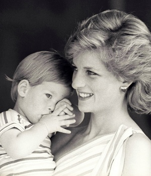 Britain's Princess Diana holds Prince Harry during a morning picture session at Marivent Palace, where the Prince and Princess of Wales are holidaying as guests of King Juan Carlos and Queen Sofia in Mallorca