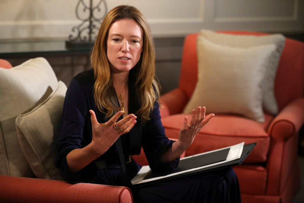 Clare Waight Keller, designer at Givenchy, gives an interview the day after Meghan Markle walked down the aisle of St George's Chapel in Windsor and married Prince Harry wearing the dress that she created, in Kensington Palace, London