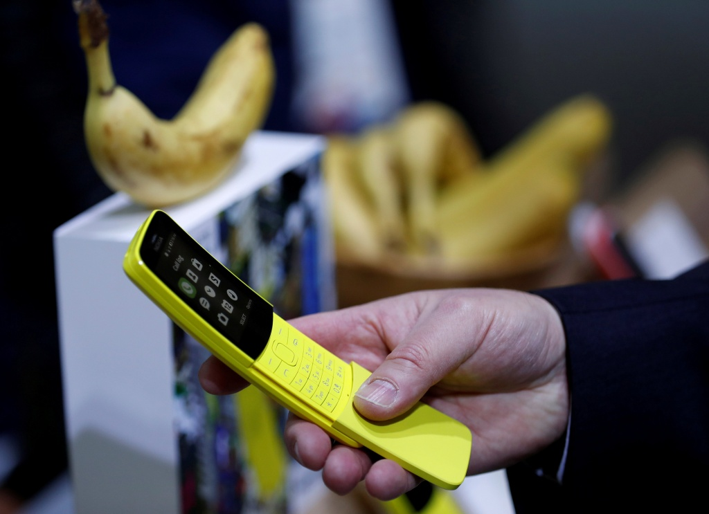 The new Nokia 8110 at the Mobile World Congress in Barcelona