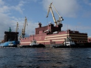 "The floating nuclear power plant ""Akademik Lomonosov"" is seen being towed to Murmansk for nuclear fuel loading, in St. Petersburg"