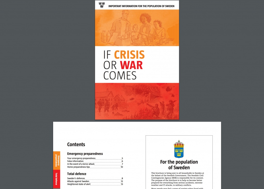 A leaflet issued by Sweden's government to its citizens with the advisory for crisis of conflict situations