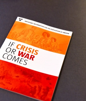 """Swedish Civil Contingencies Agency presents the new brochure """"If Crisis or War Comes"""" during a press conference in Stockholm"""