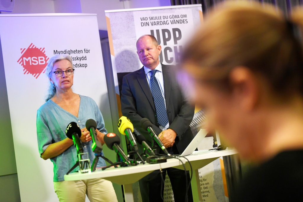 "Christina Andersson and Dan Eliasson, director-general for Swedish Civil Contingencies Agency, during the presentation of the new brochure ""If Crisis or War Comes"" during a press conference in Stockholm"