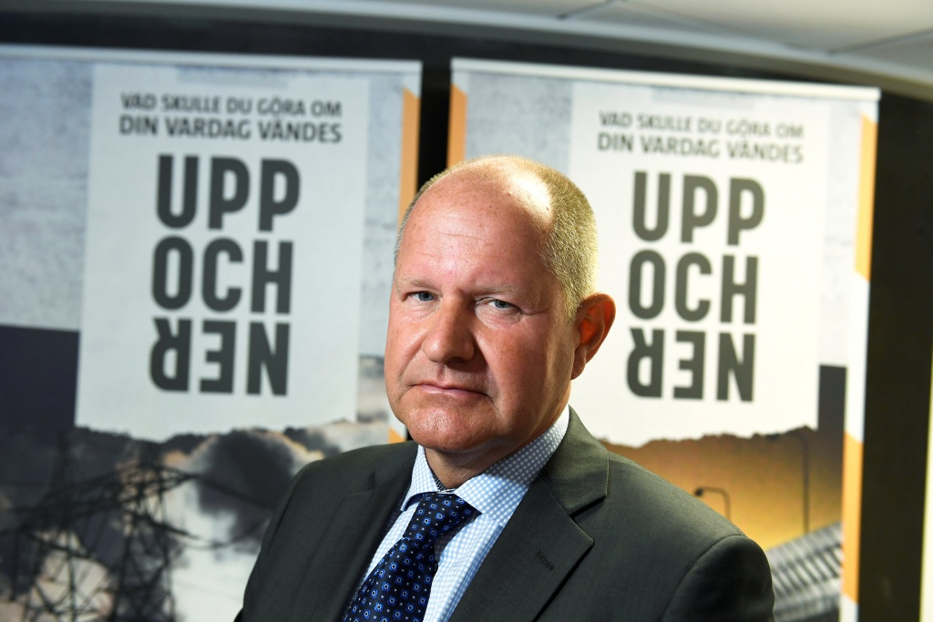 "Dan Eliasson, director-general for Swedish Civil Contingencies Agency, during the presentation of the new brochure ""If Crisis or War Comes"" during a press conference in Stockholm"