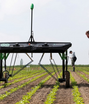 The prototype of an autonomous weeding machine by Swiss start-up ecoRobotix is pictured during tests on a sugar beet field near Bavois