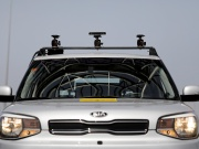 A Kia Soul, modified as an autonomous vehicle by the Imagry startup company, is seen ahead of a driving demonstration near Shfayim