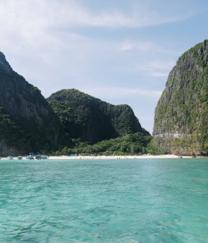 General view of Maya bay seen in Andaman sea at Krabi province