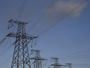 Power lines are seen near the Trypillian thermal power plant in Kiev region