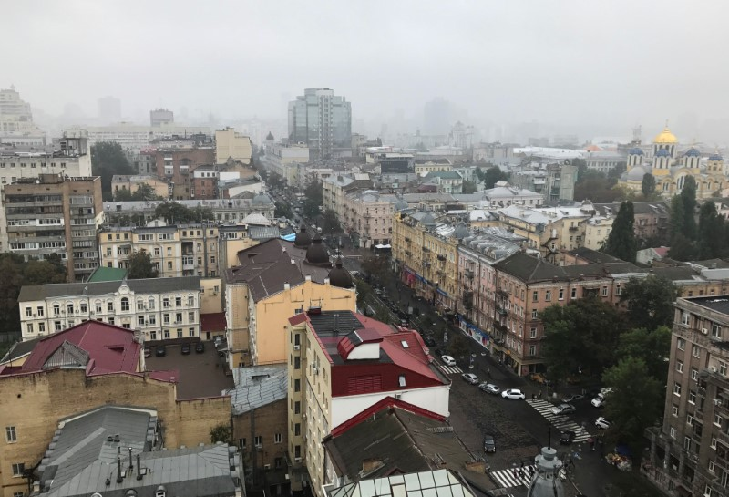 A general view shows the city center of Kiev