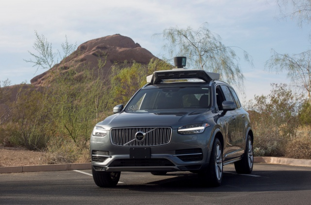 A self driving Volvo vehicle in Phoenix Arizona
