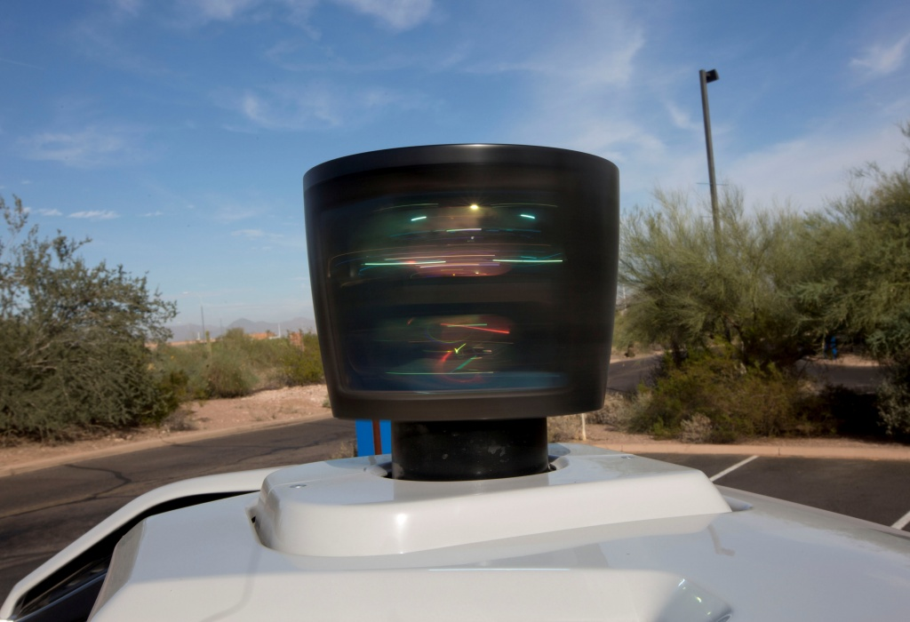 The lidar sensor is seen on a self driving Volvo vehicle, purchased by Uber, Phoenix, Arizona