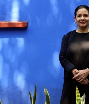 Cristina Kahlo, great-niece of Mexican artist Frida Kahlo, poses for a picture during an interview with Reuters at the Frida Kahlo Museum in Mexico City
