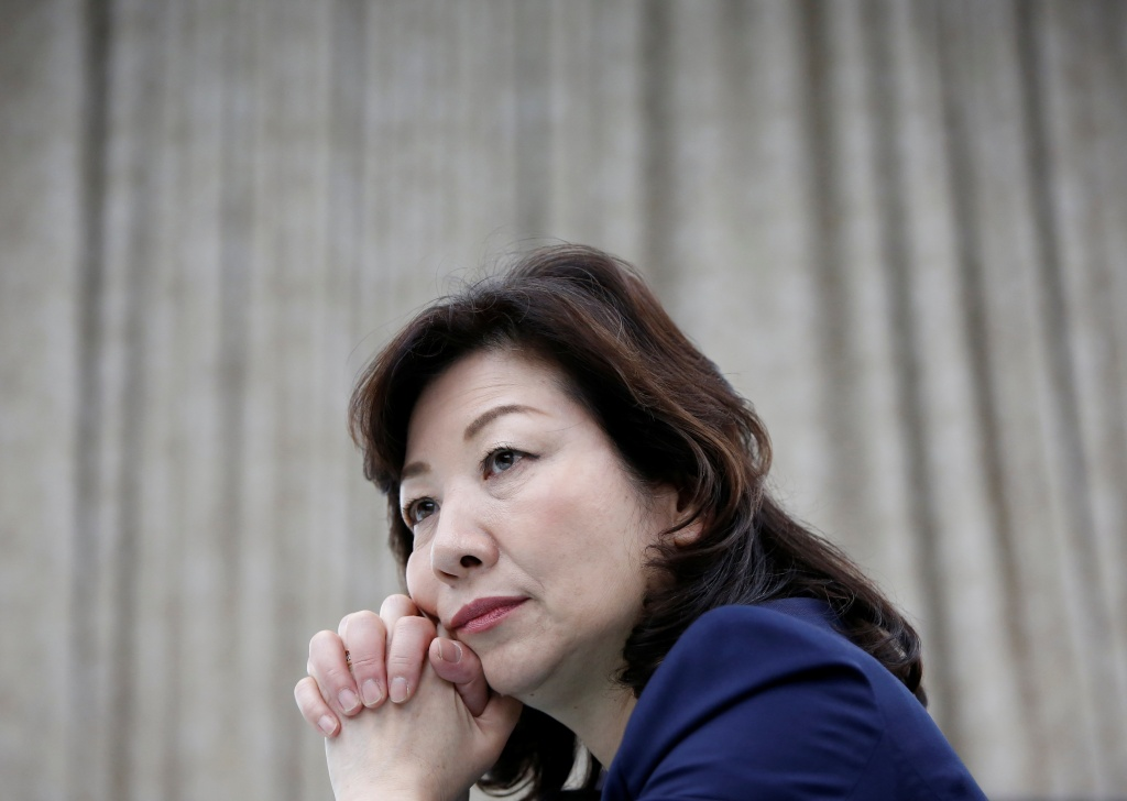 Japan's Internal Affairs and Communications Minister Seiko Noda, who is also minister in charge of women's empowerment, listens to a question in Tokyo