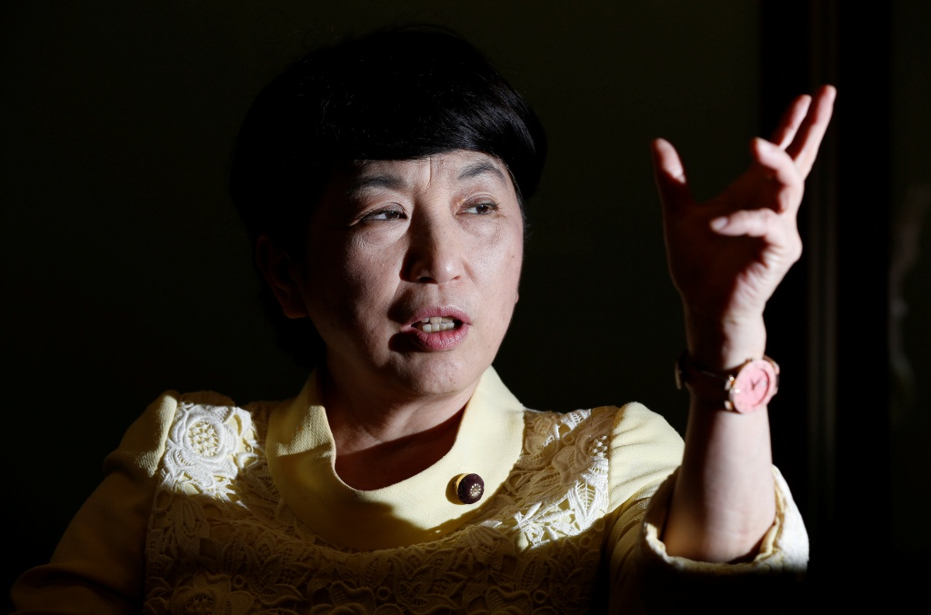 Social Democratic Party's lawmaker speaks during an interview with Reuters in Tokyo