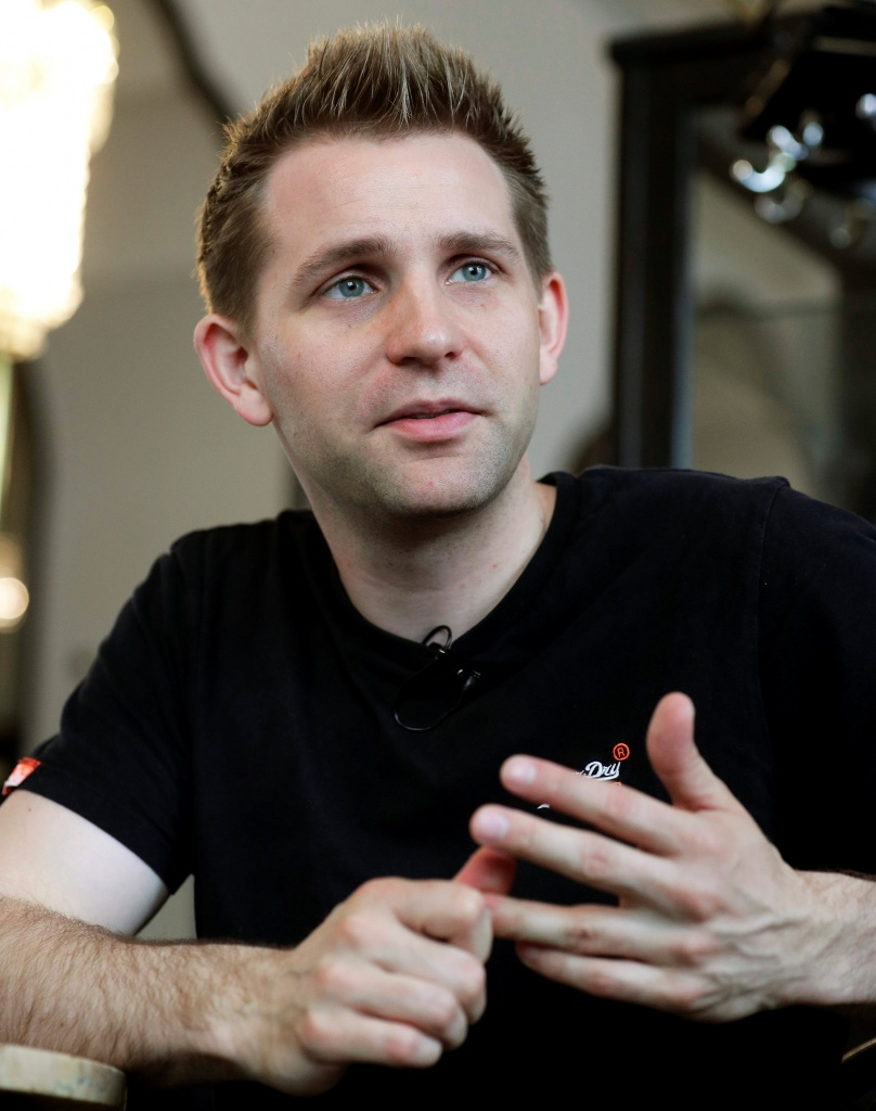 Austrian lawyer and privacy activist Schrems speaks during a Reuters interview in Vienna