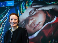 New UNICEF executive director Henrietta Fore poses for Reuters ahead of an interview in Brussels