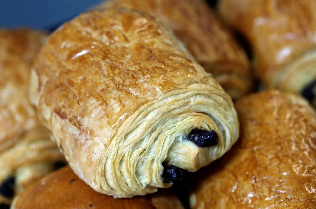 A row of pain au chocolat, also called