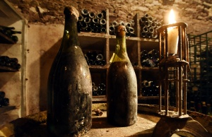 "Two vintage bottles of vin jaune ""yellow wine"" from 1774 are presented in a cellar in Arbois"