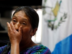 Dominga Vicente reacts during a news conference while talking about the killing of her relative Claudia Gomez, a Guatemalan immigrant killed by an US Border Patrol officer on Wednesday while entering illegally to Texas, during a news conference in Guatemal