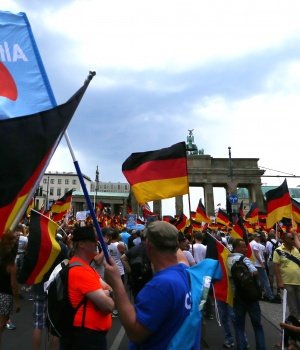 Supporters of the Anti-immigration party Alternative for Germany (AfD) hold a protest in Berlin