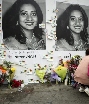 Messages are left at a memorial to Savita Halappanavar a day after an Abortion Referendum to liberalise abortion laws was passed by popular vote, in Dublin