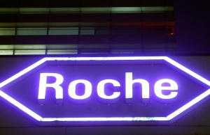 Swiss drugmaker Roche's logo is seen at their headquarters in Basel, Switzerland