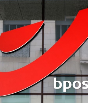The logo of Belgium's national postal deliverer bpost is pictured outside the company's headquarters in Brussels
