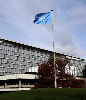 The WHO headquarters are pictured in Geneva