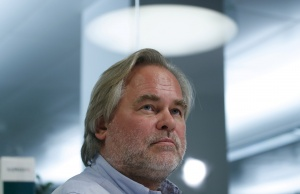 Eugene Kaspersky, Chief Executive of Russia's Kaspersky Lab, looks on during an interview in Moscow
