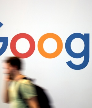 The logo of Google is pictured during the Viva Tech start-up and technology summit