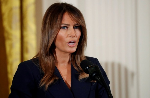 First lady Melania Trump participates in a celebration of military mothers and spouses at the White House