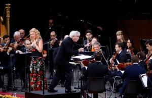 Liverpool-born maestro, now 63, Sir Simon Rattle conducts at the Berliner Waldbuehne his final concert at the helm of the Berlin Philharmonic after 16 years in Berlin