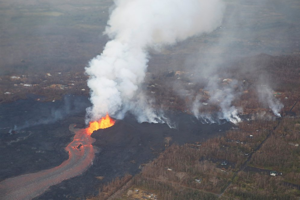 Lava erupts in Leilani Estates during ongoing eruptions of the Kilauea Volcano