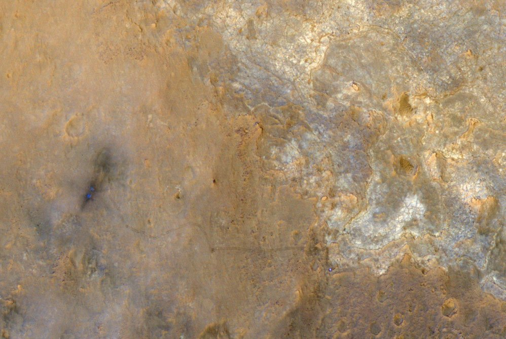 Curiosity appears as a bluish dot near the lower right corne