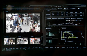 SenseTime surveillance software identifying customers' movement patterns at a department store runs as a demonstration at the company's office in Beijing