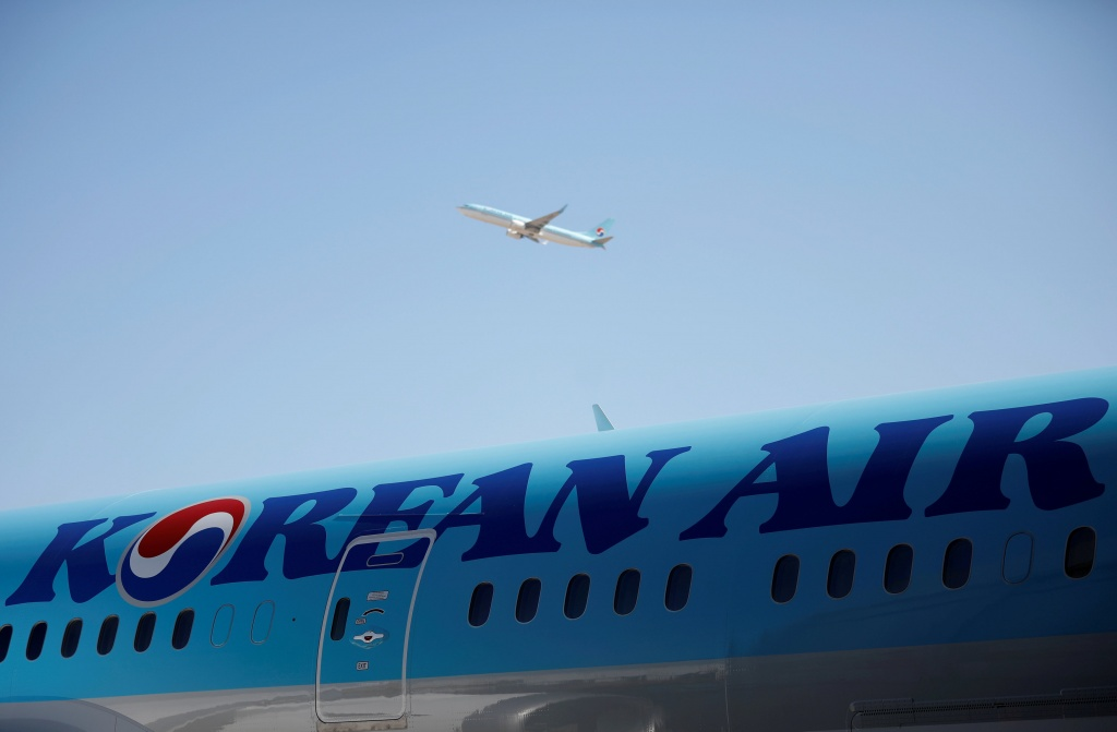 The logo of Korean Airlines is seen on a B787-9 plane at its aviation shed in Incheon, South Korea