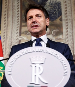 Italy's Prime Minister-designate Conte talks to the media at the Quirinal Palace in Rome