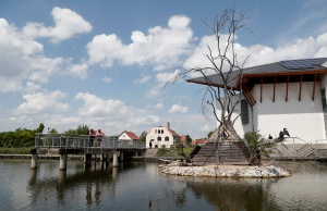 People watch birds at the Lake Tisza Ecocentre in Poroszlo