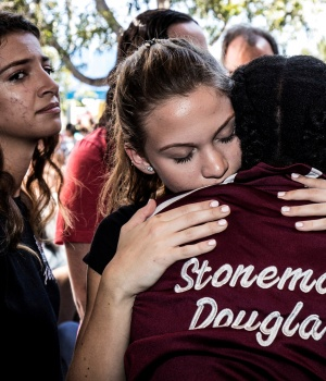Students from Marjory Stoneman Douglas High School attend a memorial following a school shooting incident in Parkland
